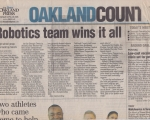 Robotics Team Wins it All! - Oakland Press (4/26/2005)