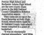 Pontiac, Rochester Adams Top Robotics Competition - Oakland Press (2009)